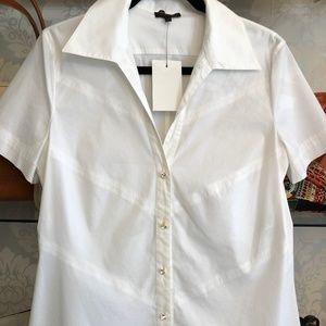 ESCADA Ivory/White Rhinestone Button Down Shirt